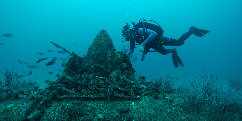 A diver examines the wreck of an aircraft