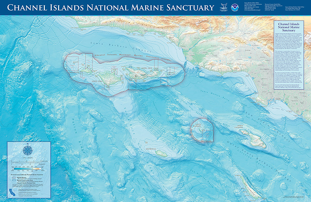 map showing the boundaries of Channel Islands National Marine Sanctuary